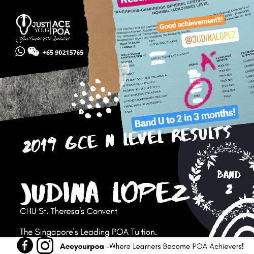 Judina Lopez Ace Your POA Tuition Band 2 N level 2019