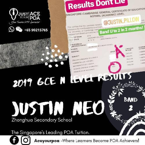 Justin Neo Ace Your POA Tuition Band 2 N level 2019