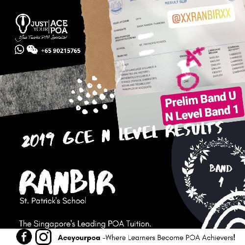 Ranbir Ace Your POA Tuition Band 1 N level 2019